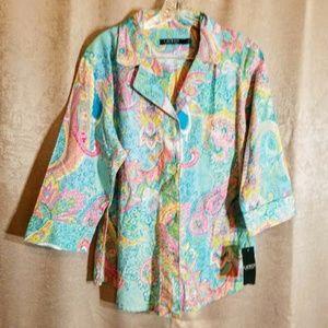 Lauren Paisley Pajama Top NWT sz L